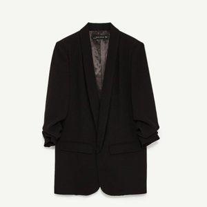 Zara Ruched Black Blazer